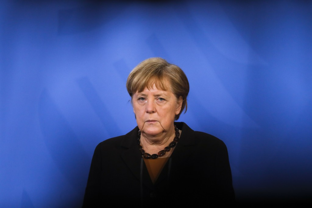 File - In this Tuesday, March 30, 2021 file photo, German Chancellor Angela Merkel briefs the media after a virtual meeting with federal state governo...