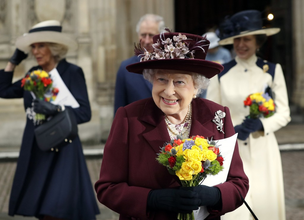 FILE - In this Monday, March 12, 2018 file photo, Britain's Queen Elizabeth II leaves after attending the Commonwealth Service at Westminster Abbey in...