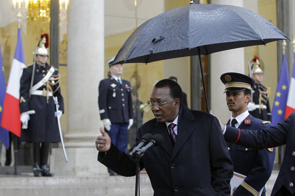 FILE - In this Wednesday, Dec. 5, 2012 file photo, Chadian President Idriss Deby Itno answers questions from media after his meeting with French Presi...