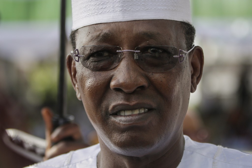 FILE - In this Friday, May 29, 2015 file photo, Chadian President Idriss Deby Itno arrives for the inauguration of the new Nigerian President, Muhamma...