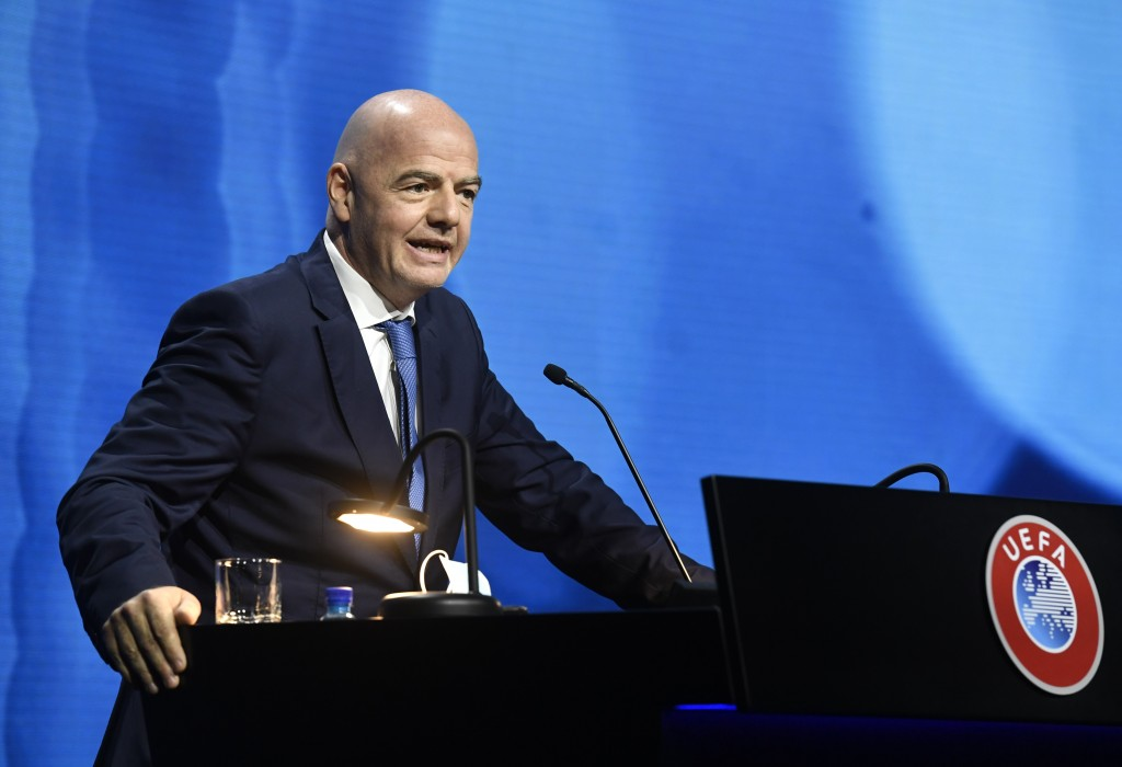FIFA President Gianni Infantino speaks during the 45th UEFA Congress in Montreux, Switzerland, Tuesday April 20, 2021. In a speech that seemed to blam...