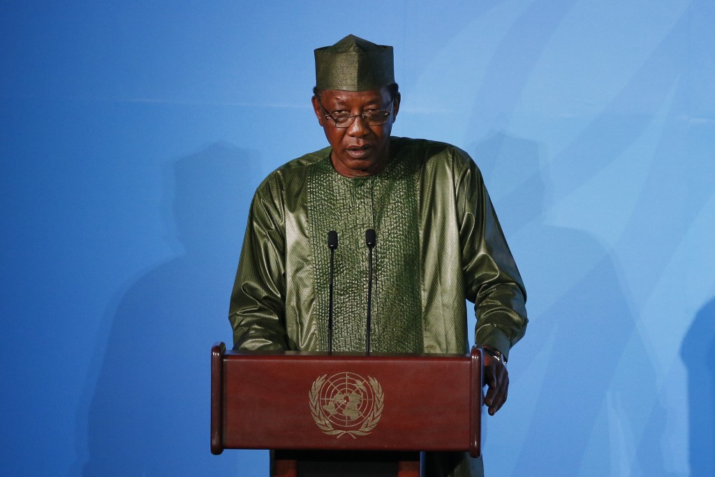 FILE - In this Monday, Sept. 23, 2019 file photo, Chadian President Idriss Deby Itno addresses the Climate Action Summit at the United Nations General...