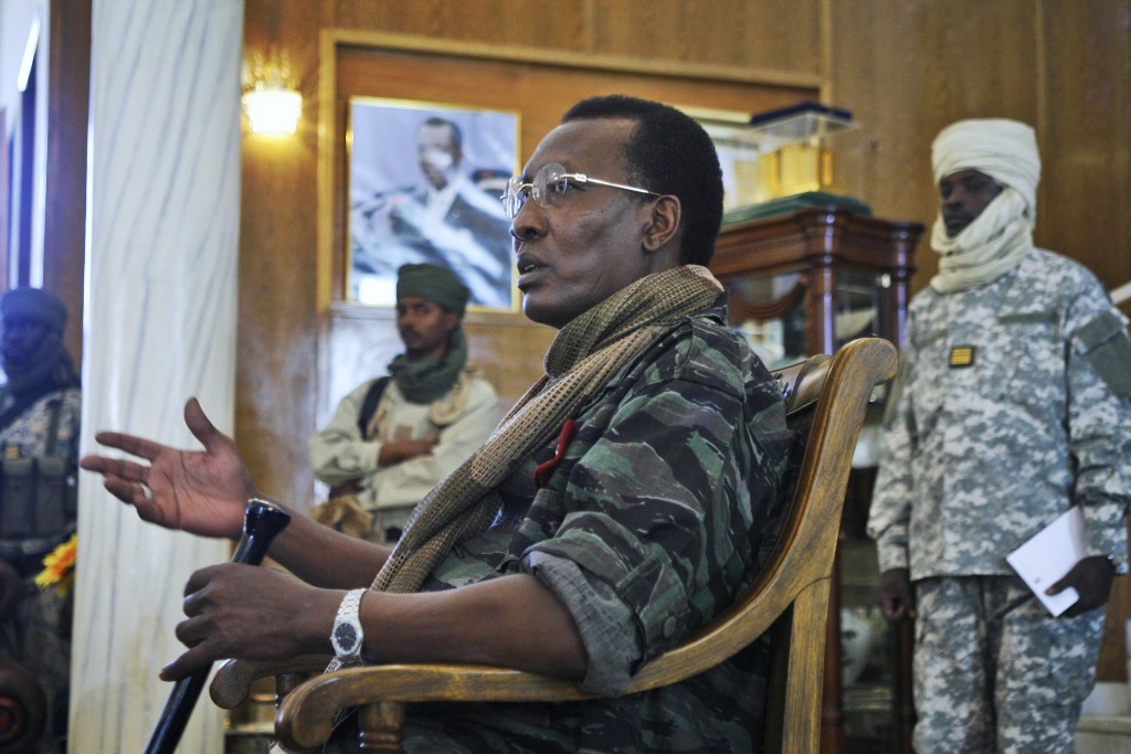 FILE - In this Wednesday, Feb. 6, 2008 file photo, Chadian President Idriss Deby Itno addresses a news conference at the Presidential Palace in N'Djam...