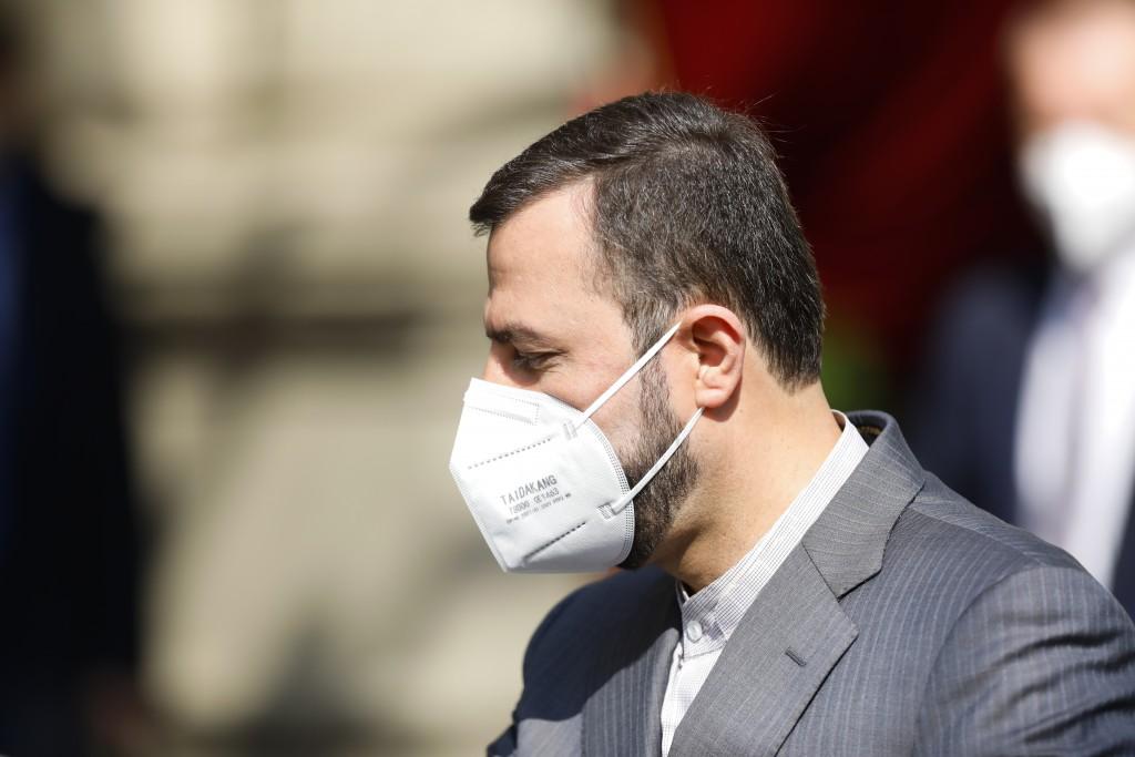 Iran's Governor to the International Atomic Energy Agency, IAEA, Kazem Gharib Abadi leaves the 'Grand Hotel Vienna' where closed-door nuclear talks ta...