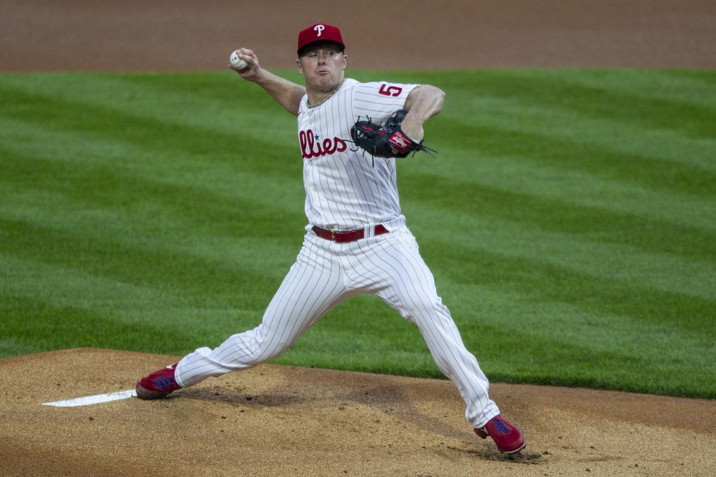 Philadelphia Phillies starting pitcher Chase Anderson throws during the first inning of a baseball game against the San Francisco Giants, Monday, Apri...