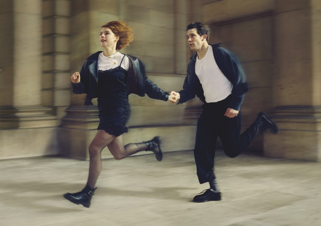 """This image released by PBS shows Jessie Buckley, left, and Josh O'Connor in a scene from Great Performances' """"Romeo & Juliet,"""" premiering  Friday, Apr..."""