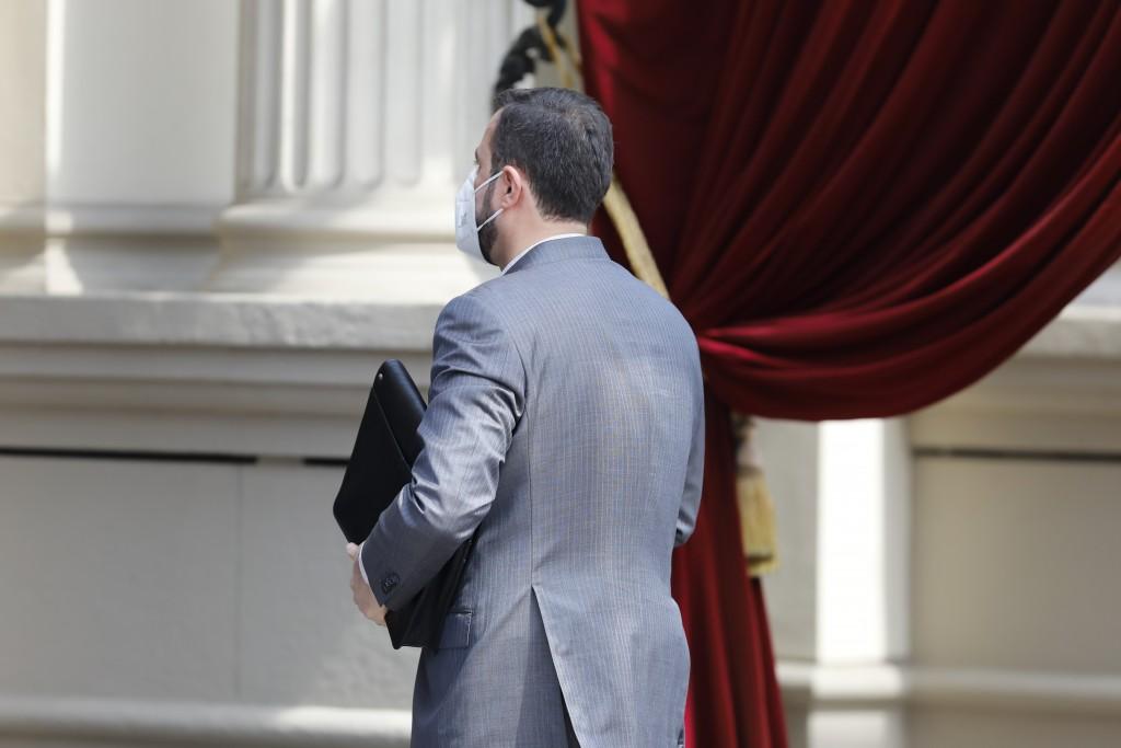 Iran's Governor to the International Atomic Energy Agency (IAEA), Kazem Gharib Abadi enters the 'Grand Hotel Wien' where closed-door nuclear talks tak...