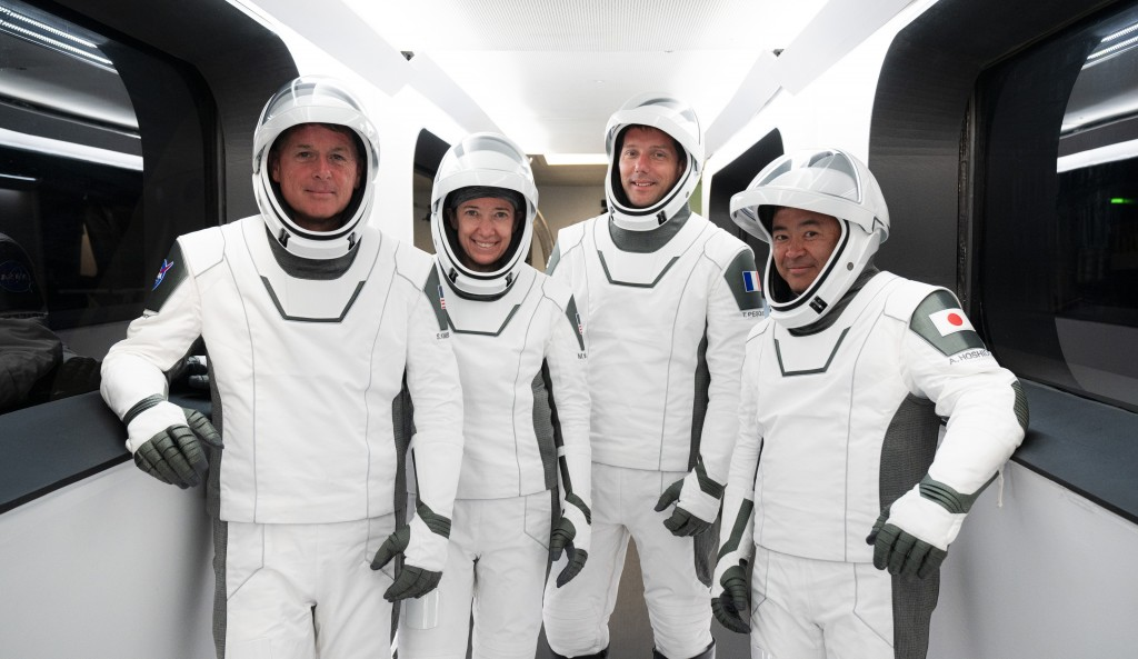This Sunday, April 18, 2021 photo made available by SpaceX shows, from left, NASA astronauts Shane Kimbrough and Megan McArthur, European Space Agency...