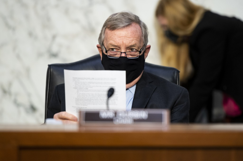 Chairman Dick Durbin, D-Ill., listens during a Senate Judiciary Committee hearing on voting rights on Capitol Hill in Washington, Tuesday, April 20, 2...