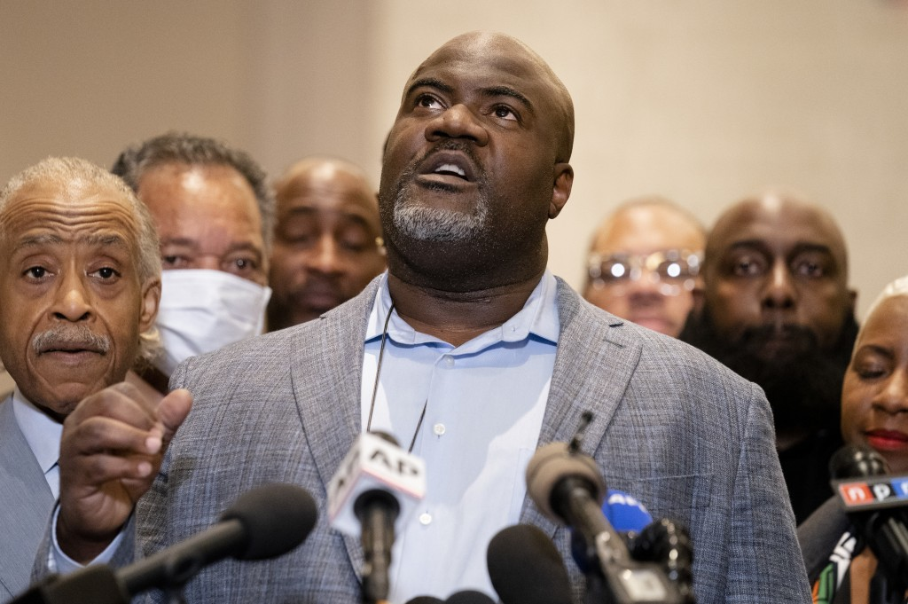 Rodney Floyd, brother of George Floyd, speaks of his brother during a news conference after former Minneapolis police Officer Derek Chauvin is convict...