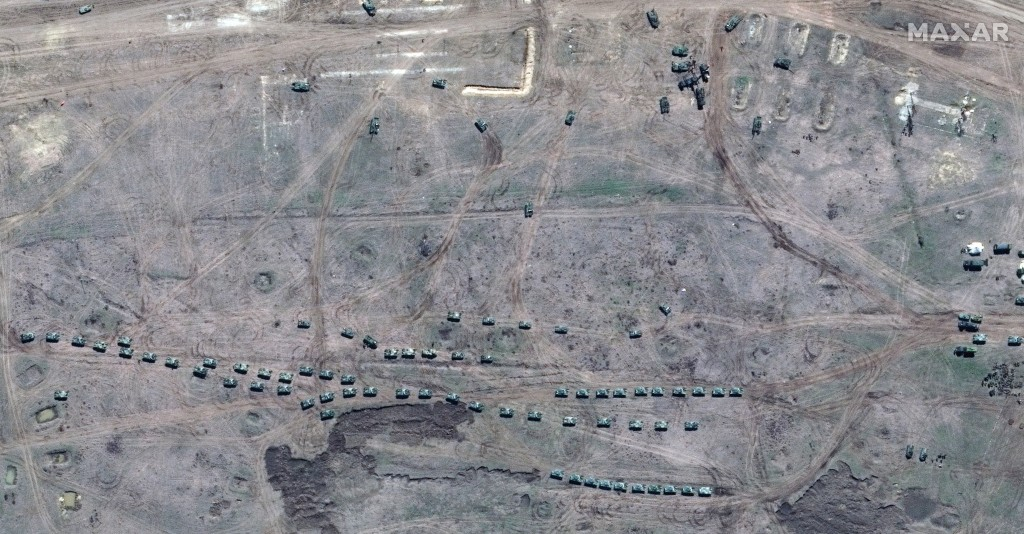 This image provided by Maxar Technologies shows closer view of airborne units on manuevers in Angarsky training area in Crimea on Thursday, April 15, ...