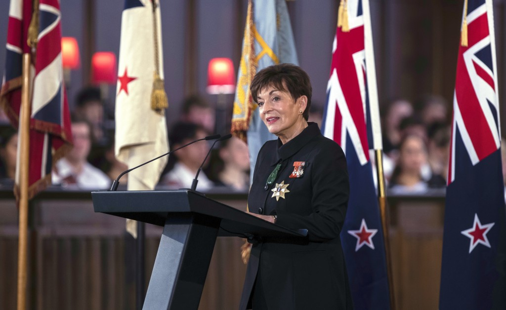 New Zealand's Governor-General Patsy Reddy speaks during a national memorial service for Prince Philip at the Cathedral of St. Paul in Wellington, New...