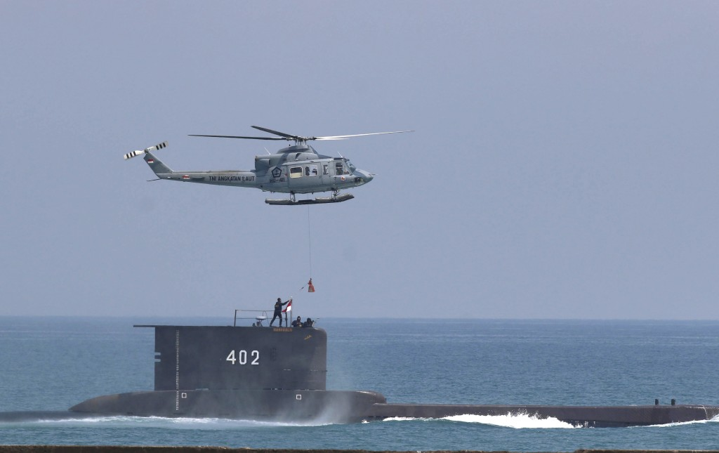 The Indonesian Navy submarine KRI Nanggala takes part in a drill off Cilegon, Indonesia, in this Tuesday, Oct. 3, 2017 photo. Indonesia's navy is sear...