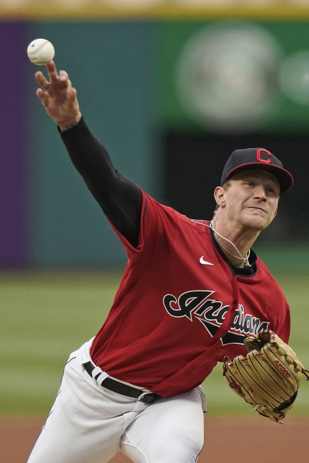 Cleveland Indians starting pitcher Zach Plesac delivers in the first inning in a baseball game against the Chicago White Sox, Tuesday, April 20, 2021,...