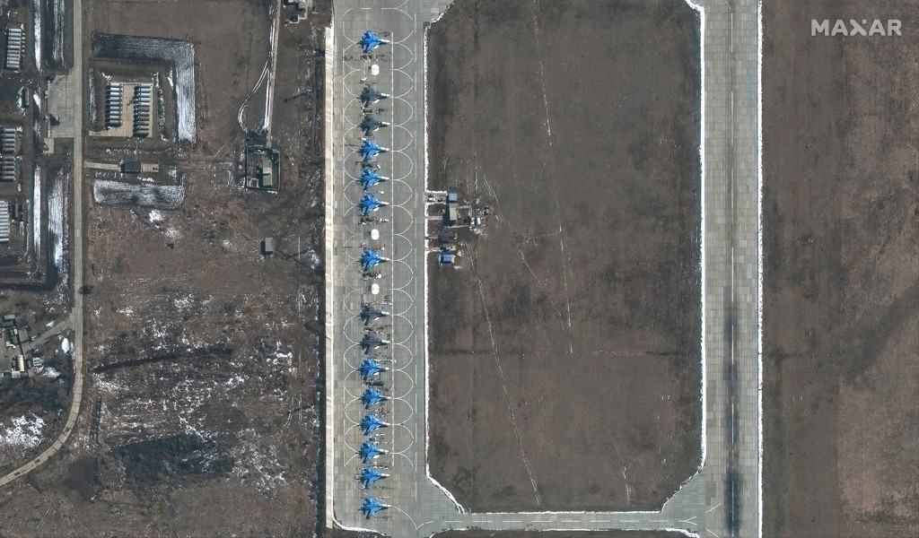 This image provided by Maxar Technologies shows 11 SU-34 aircrafts at Morozovsk airbase in Russia, on Saturday, March 27, 2021. Russia has insisted th...