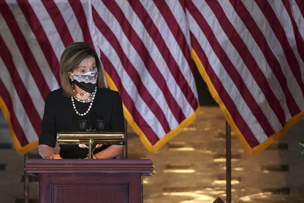 House Speaker Nancy Pelosi of Calif., speaks during a Celebration of Life for Rep. Alcee Hastings, D-Fla., in Statuary Hall on Capitol Hill in Washing...