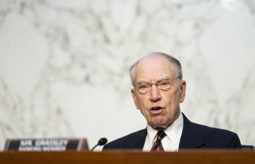 Senate Judiciary Committee Ranking Member Chuck Grassley, R-Iowa, speaks during a Senate Judiciary Committee hearing on voting rights on Capitol Hill ...