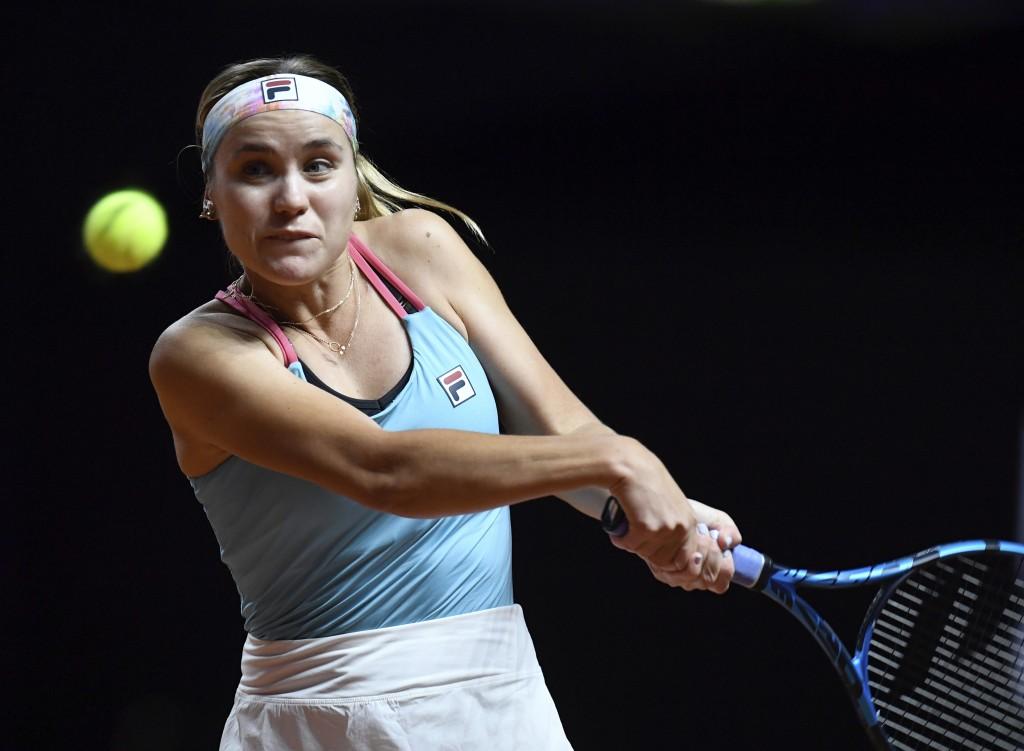 Sofia Kenin of USA in action against Anett Kontaveit of Estonia, during their WTA Tour Ladies Singles Round of 16 tennis match at the Porsche Arena in...