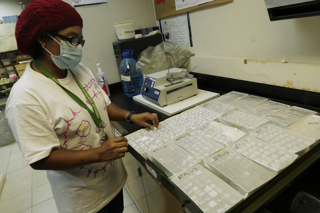 Researcher Brigida De Gracia of the Smithsonian Tropical Research Institute, holds a sample of fish otoliths at the Naos Marine Laboratories in Panama...