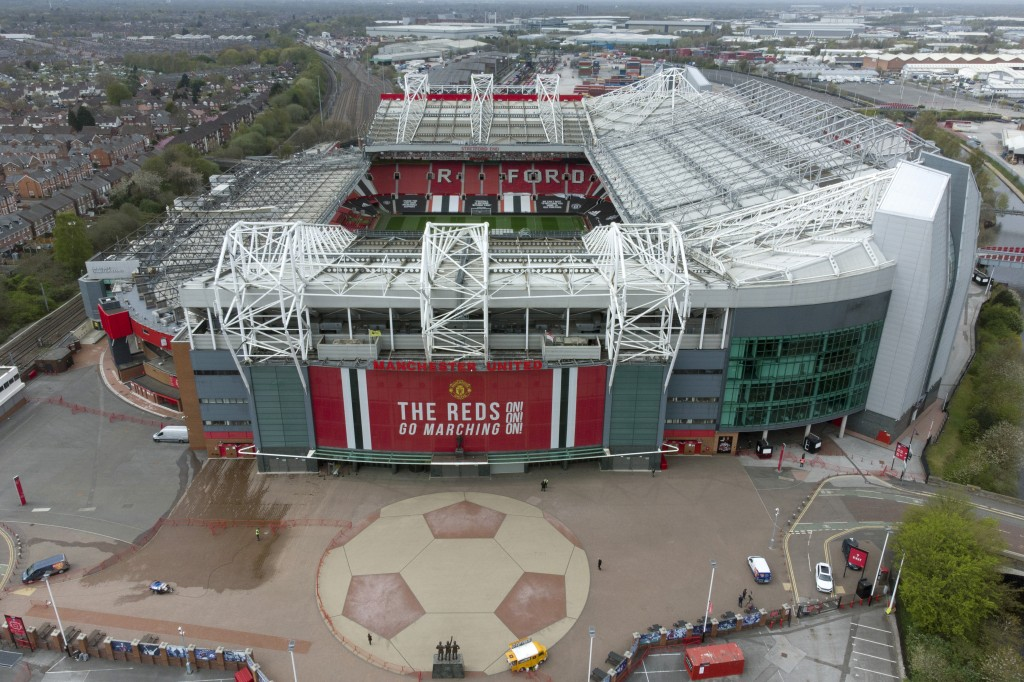 Manchester United's Old Trafford Stadium is seen after the collapse of English involvement in the proposed European Super League, Manchester, England,...