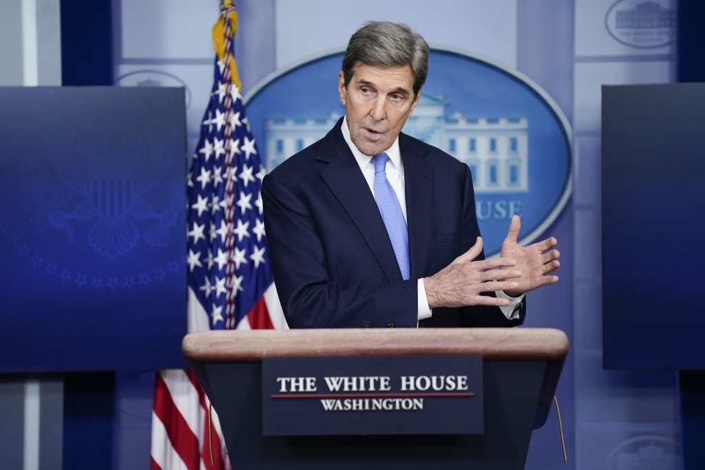 FILE - In this Jan. 27, 2021 file photo, Special Presidential Envoy for Climate John Kerry speaks during a press briefing at the White House in Washin...
