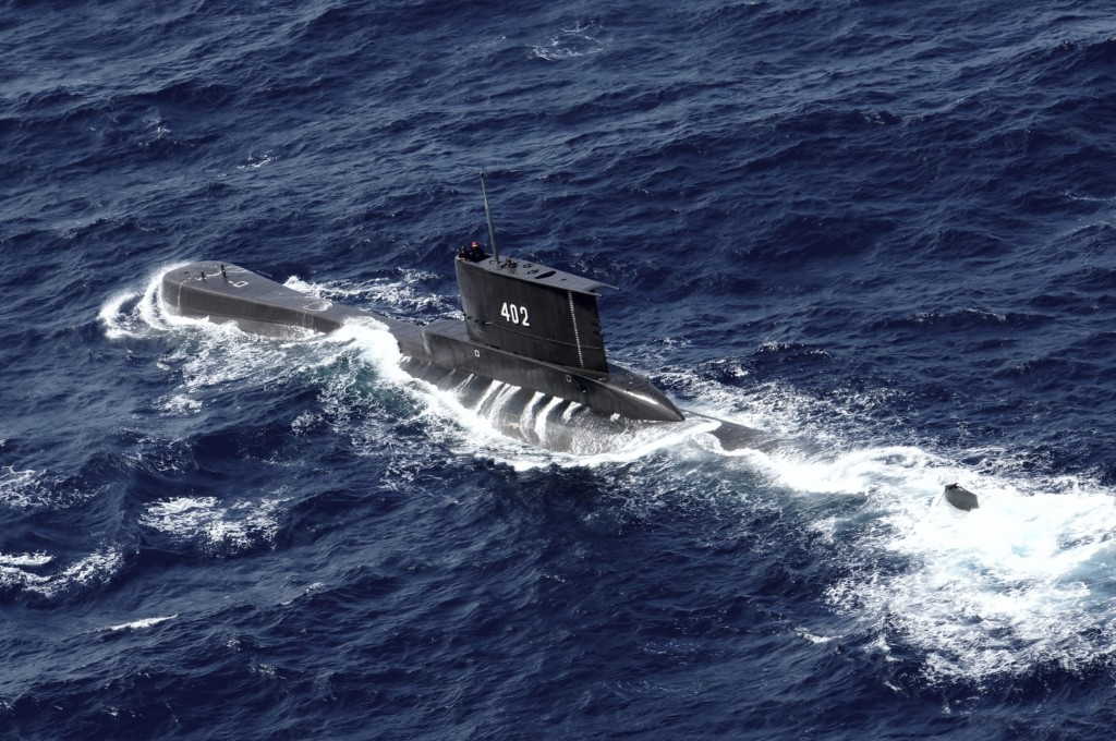 Indonesian Navy submarine KRI Nanggala sails in the waters off Tuban, East Java, Indonesia, as seen in this aerial photo taken from Indonesian Navy he...