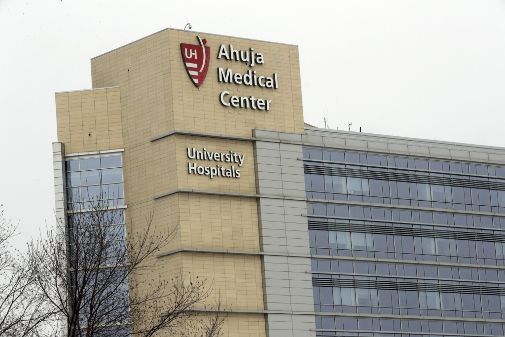 This photo shows the exterior of University Hospital Ahuja Medical Center, Monday, March 12, 2018, in Beachwood, Ohio. The former lab director at a fe...