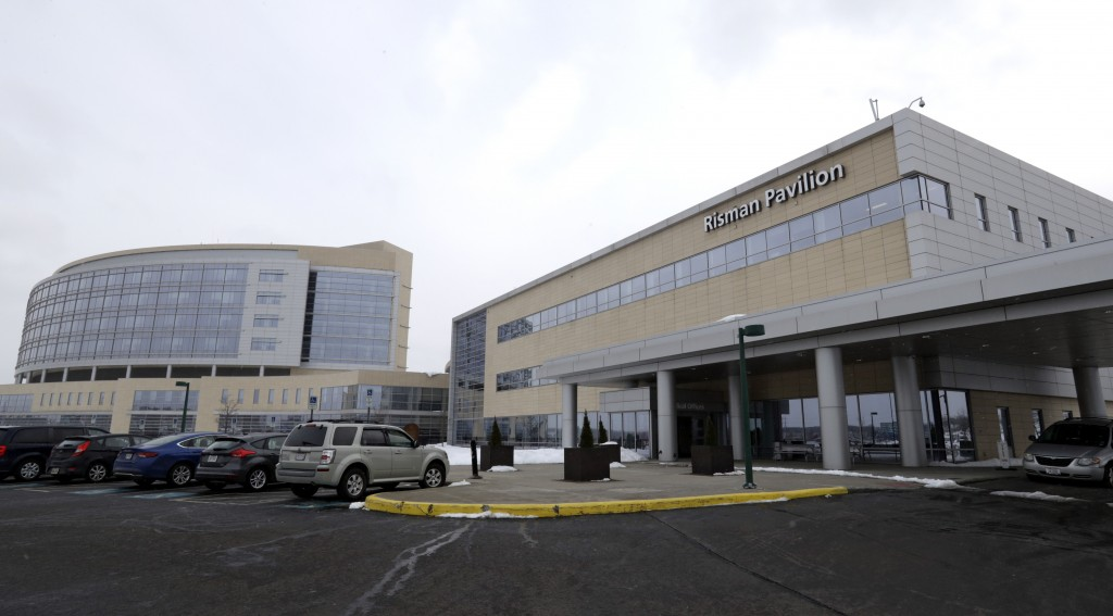 FILE - This Monday, March 12, 2018, file photo, shows the exterior of the University Hospital Ahuja Medical Center Kathy Risman Pavilion in Beachwood,...
