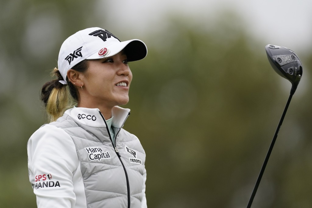 Lydia Ko watches her shot from the 11th tee during the second round of the LPGA's Hugel-Air Premia LA Open golf tournament at Wilshire Country Club Th...