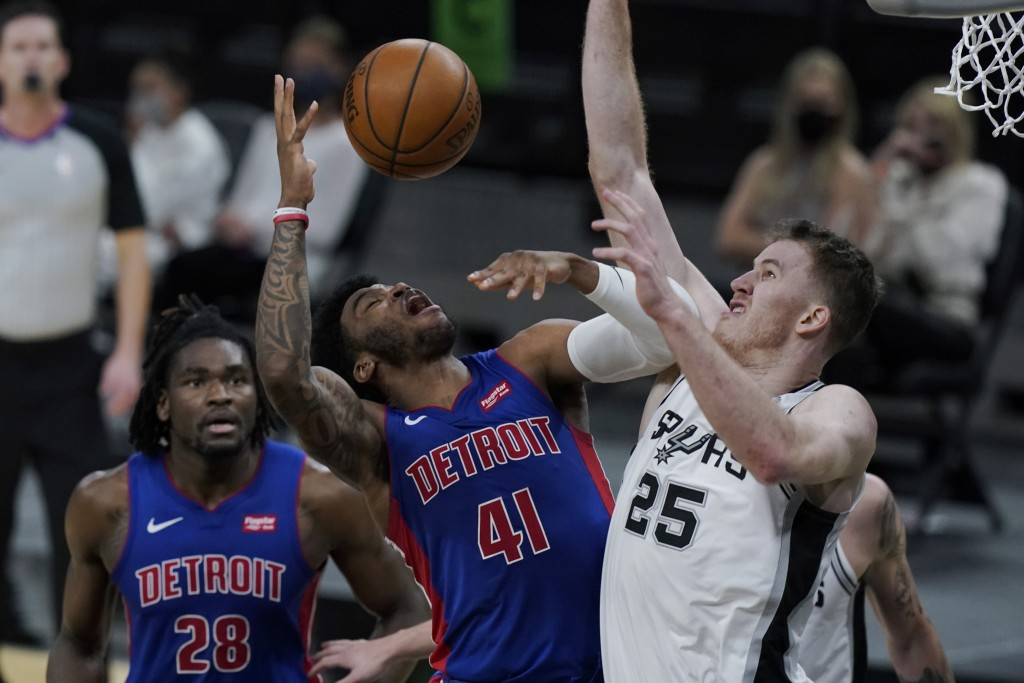 Detroit Pistons forward Saddiq Bey (41) is fouled by San Antonio Spurs center Jakob Poeltl (25) during the second half of an NBA basketball game in Sa...