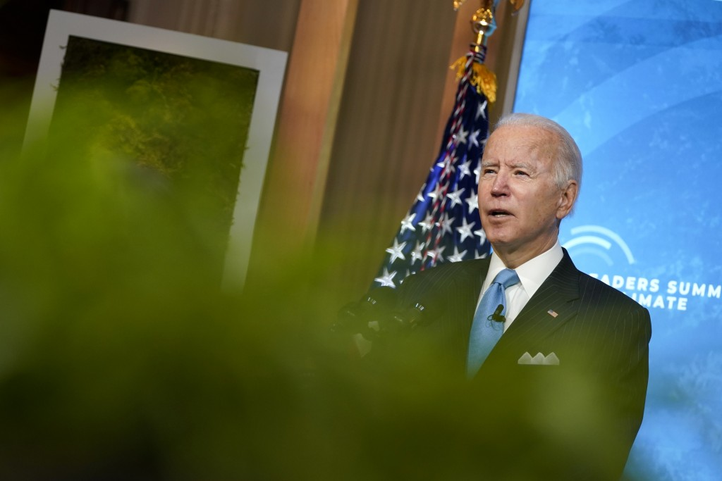 President Joe Biden speaks to the virtual Leaders Summit on Climate, from the East Room of the White House, Friday, April 23, 2021, in Washington. (AP...