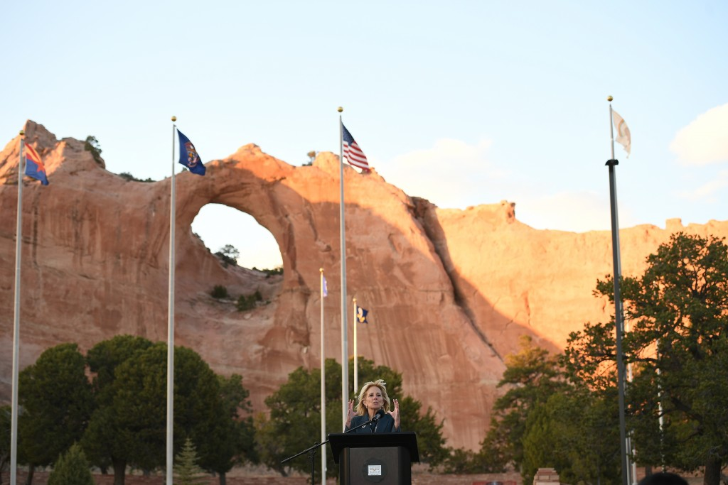 First lady Jill Biden speaks during a live radio address to the Navajo Nation at the Window Rock Navajo Tribal Park & Veterans Memorial in Window Rock...