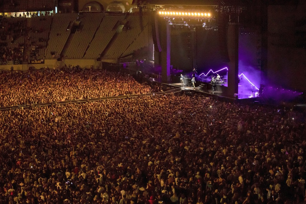 New Zealand band Six60 perform at Eden Park in Auckland, New Zealand, Saturday, April 24, 2021. Six60 is being billed as the biggest live act in the w...