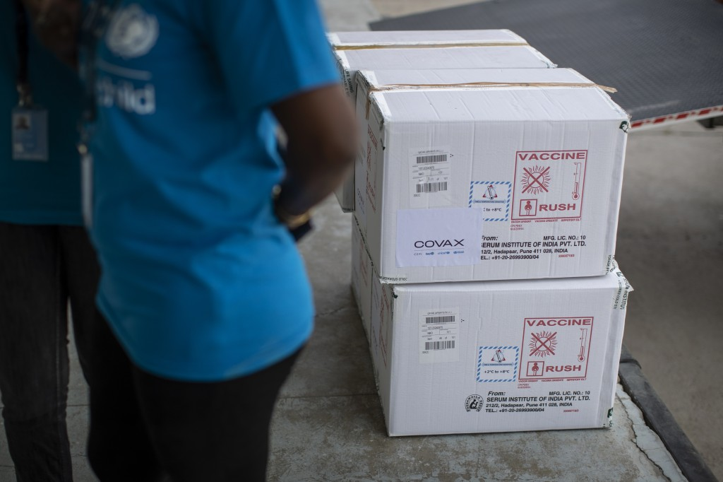 FILE - In this March 4, 2021, file photo, empty boxes used for the transport of AstraZeneca COVID-19 vaccine manufactured by the Serum Institute of In...