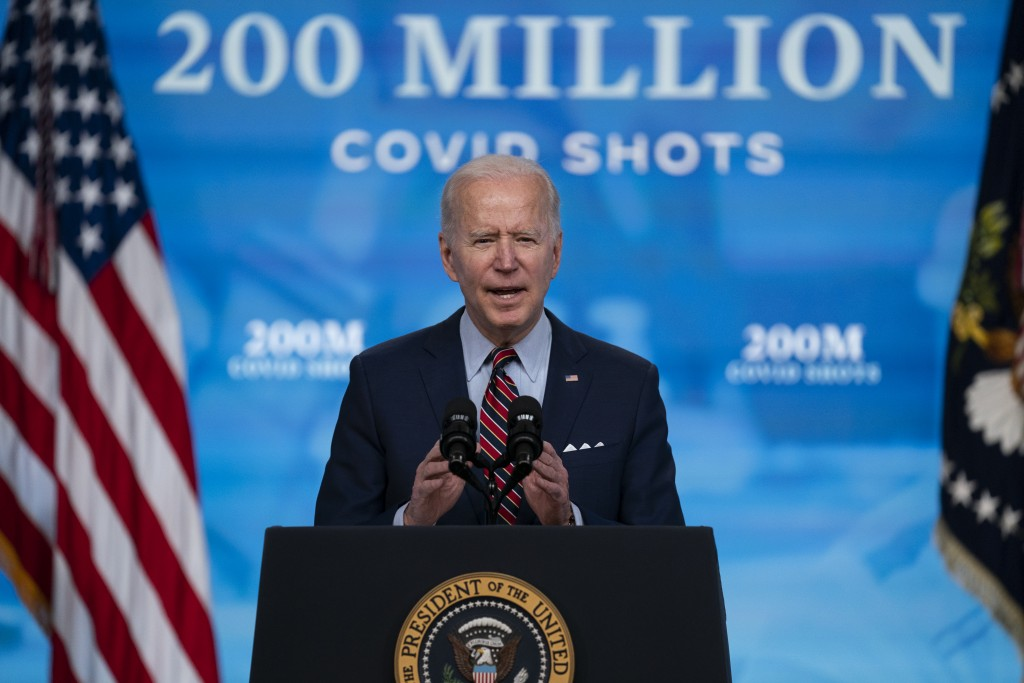 FILE - In this April 21, 2021, file photo, President Joe Biden speaks about COVID-19 vaccinations at the White House, in Washington. Biden has touted ...