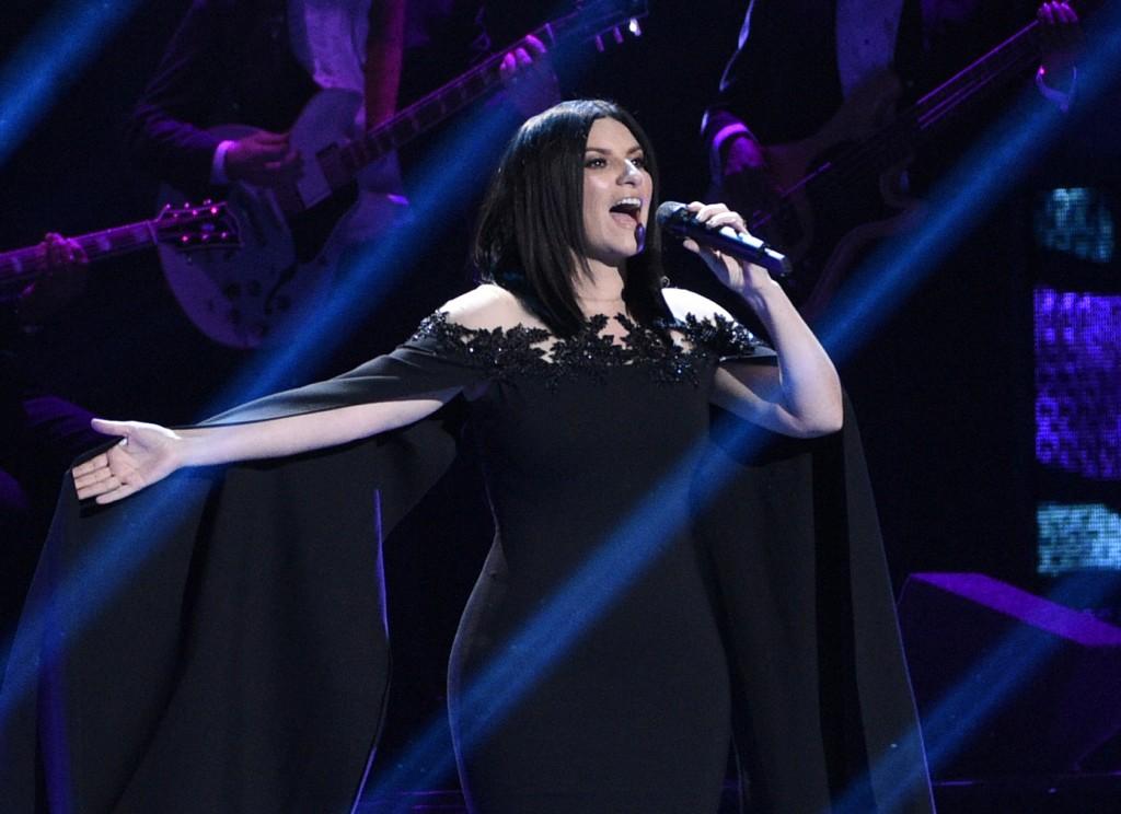 "FILE - Laura Pausini performs ""Lado Derecho del Corazon"" at the 17th annual Latin Grammy Awards in Las Vegas on Nov. 17, 2016. Pausini will perform th..."