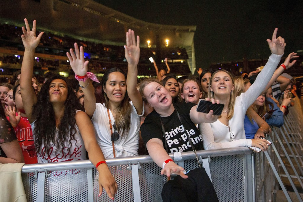 Fans cheers as New Zealand band Six60 perform at Eden Park in Auckland, New Zealand, Saturday, April 24, 2021. Six60 is being billed as the biggest li...