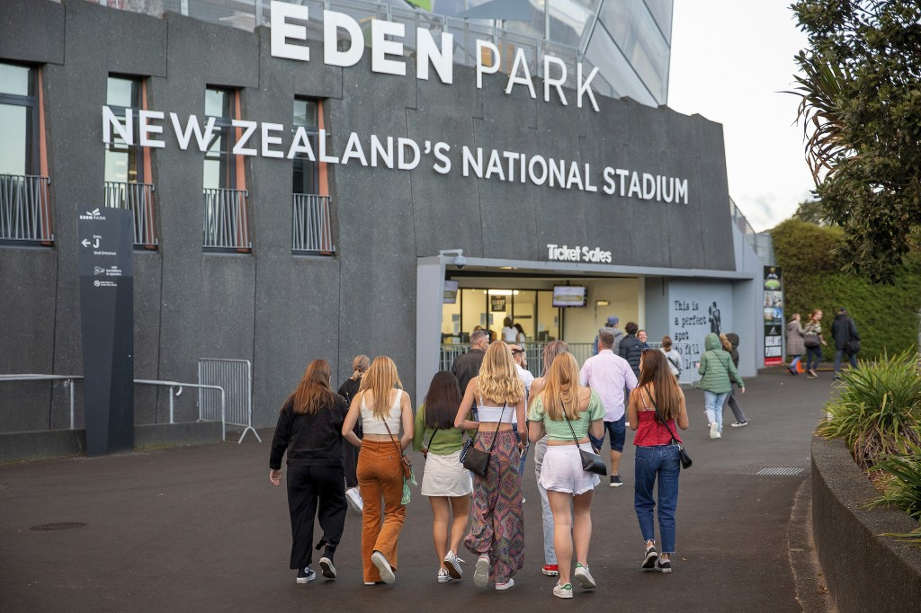 Fans arrive for Eden Park where New Zealand band Six60 is scheduled to perform in Auckland, New Zealand, Saturday, April 24, 2021. New Zealand band Si...