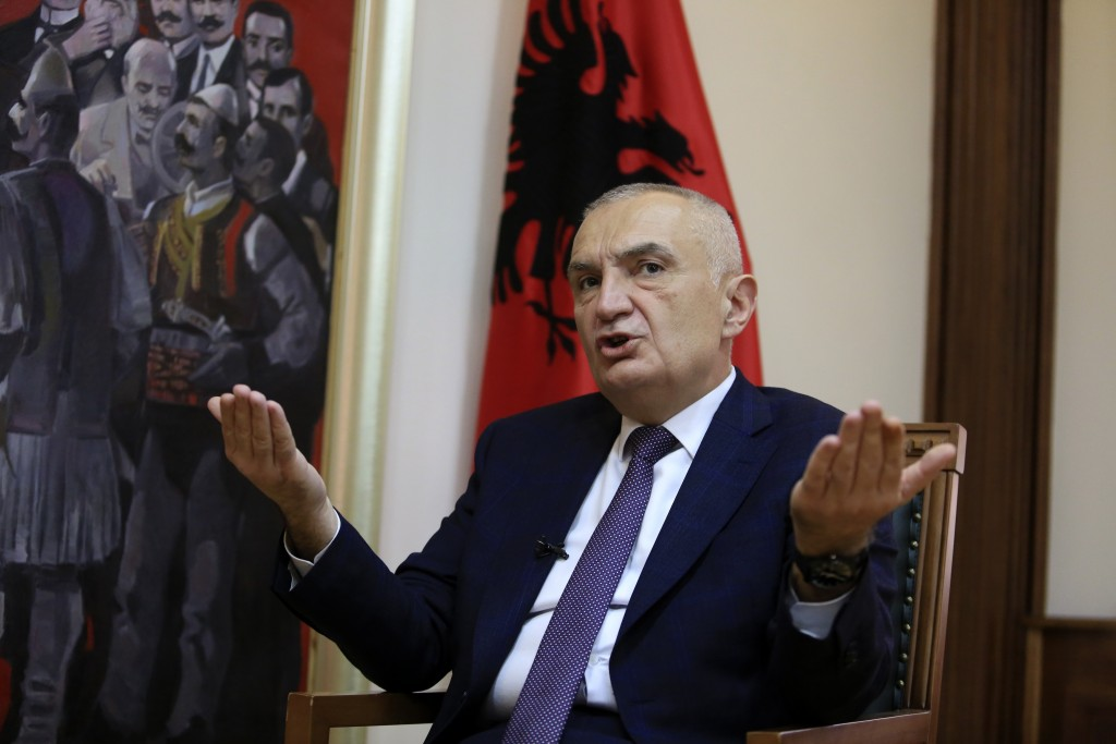 FILE - In this Wednesday, April 21, 2021 file photo, Albanian President Ilir Meta speaks during an interview with the Associated Press in Tirana, Alba...