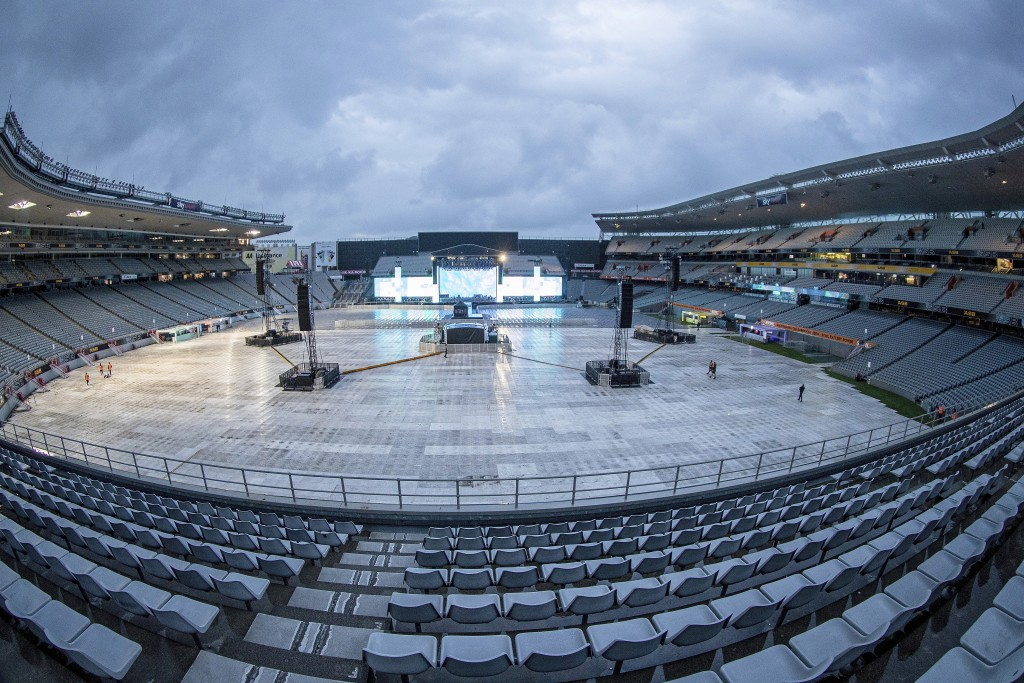 A deserted arena and stage before SIX60 undertake a sound check at Eden Park ahead of their concert in Auckland, New Zealand, Friday April 23, 2021. N...