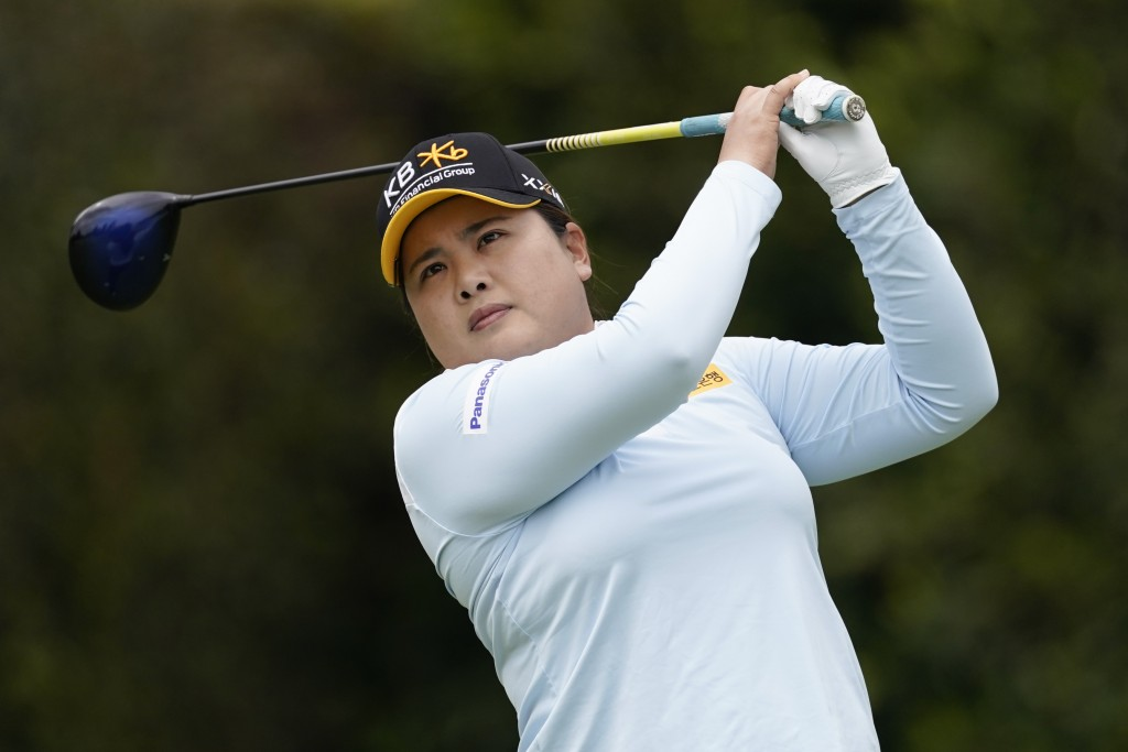 Inbee Park tees off at the second hole during the final round of the LPGA's Hugel-Air Premia LA Open golf tournament at Wilshire Country Club Saturday...