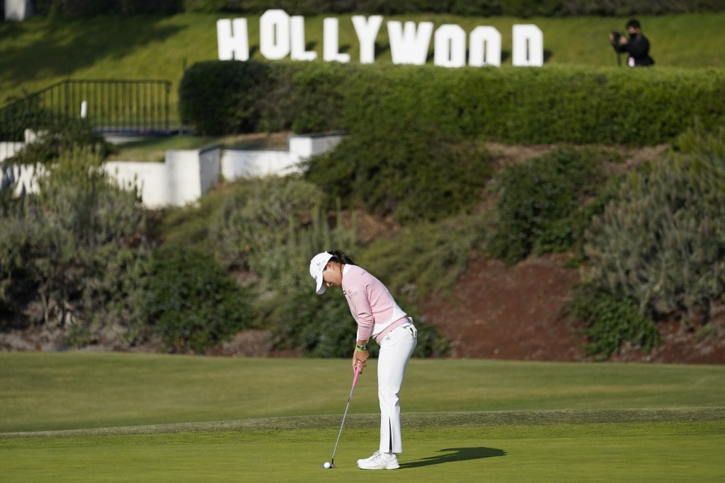 Jin Young Ko putts on the 15th green during the final round of the LPGA's Hugel-Air Premia LA Open golf tournament at Wilshire Country Club Saturday, ...