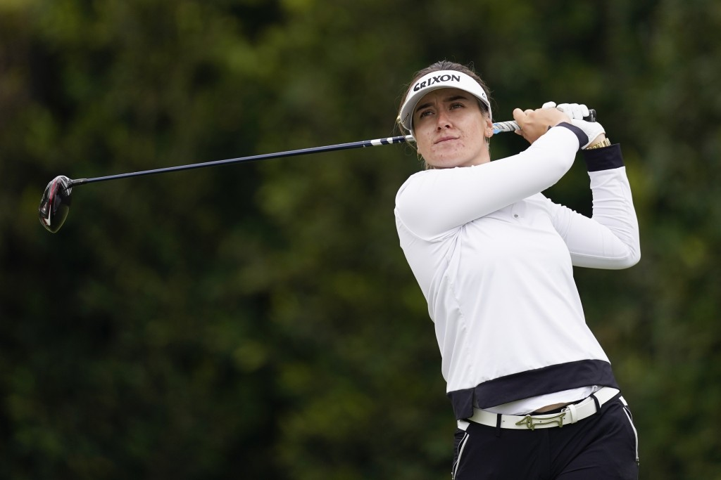 Hannah Green tees off at the second hole during the final round of the LPGA's Hugel-Air Premia LA Open golf tournament at Wilshire Country Club Saturd...