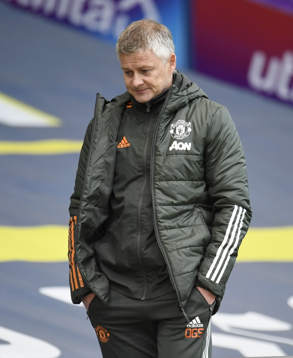 Manchester United's manager Ole Gunnar Solskjaer leaves the pitch after the English Premier League soccer match between Leeds United and Manchester Un...