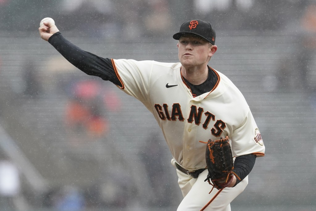 San Francisco Giants' Logan Webb pitches against the Miami Marlins during the first inning of a baseball game in San Francisco, Sunday, April 25, 2021...