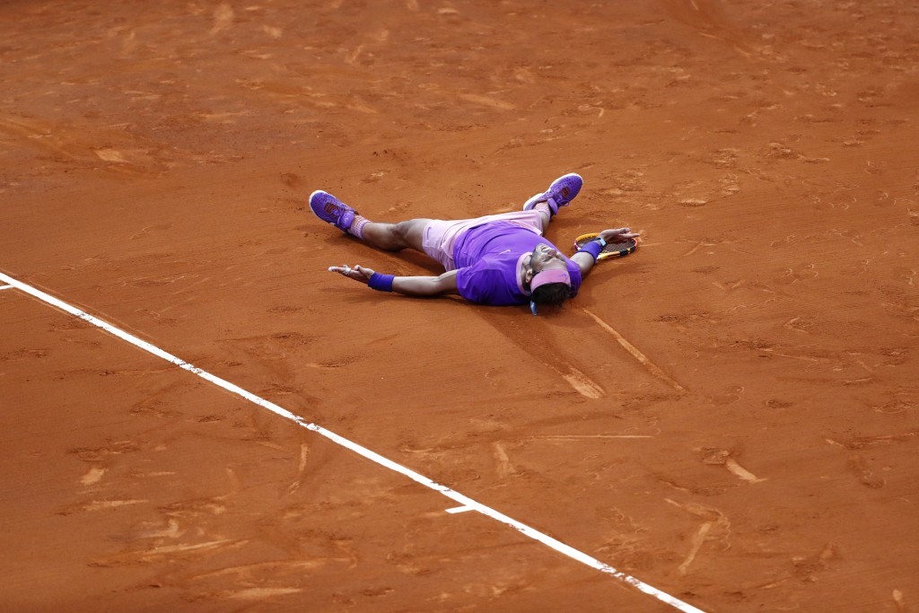Rafael Nadal of Spain reacts after winning the final Godo tennis tournament against Stefanos Tsitsipas of Greece in Barcelona, Spain, Sunday, April 25...