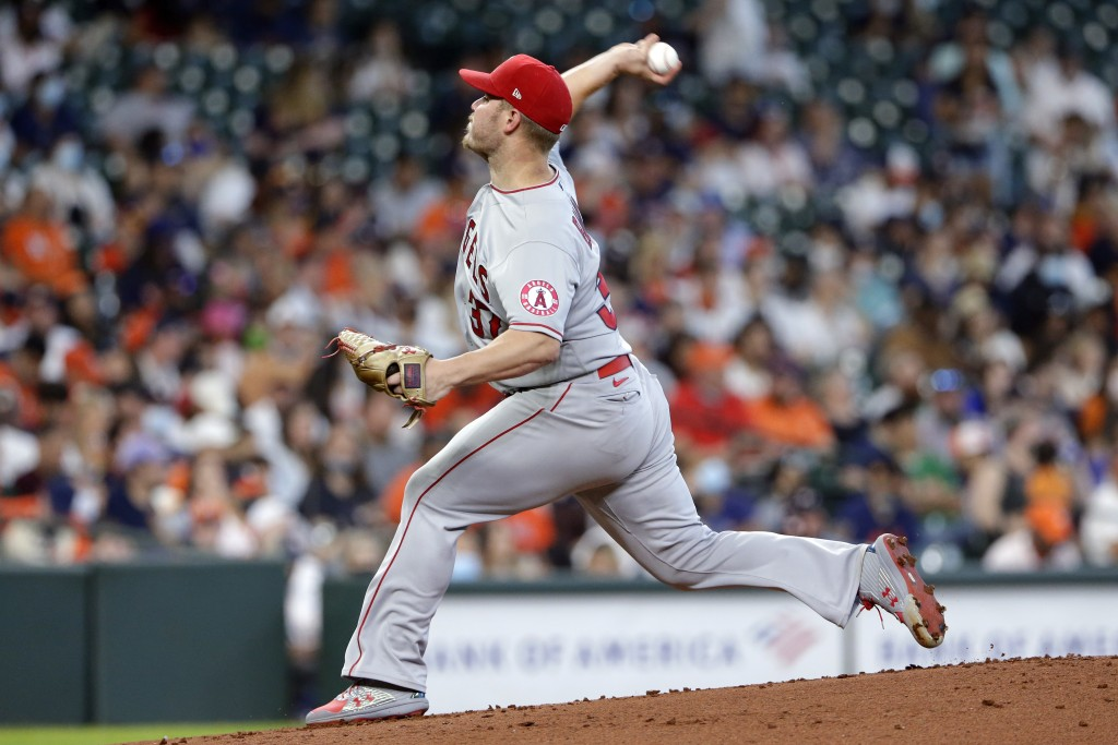 Los Angeles Angels starting pitcher Dylan Bundy (37) throws against the Houston Astros during the first inning of a baseball game Sunday, April 25, 20...