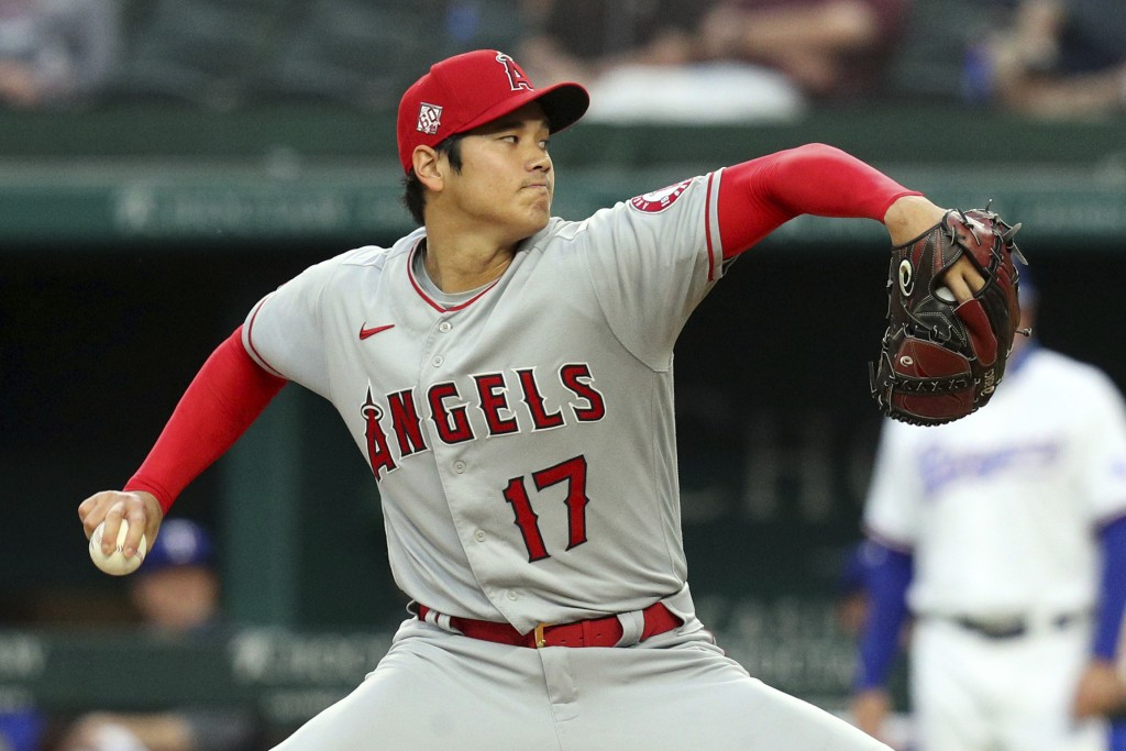 Los Angeles Angels starting pitcher Shohei Ohtani works the first inning against the Texas Rangers during a baseball game on Monday, April 26, 2021, i...