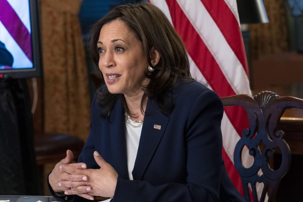 Vice President Kamala Harrismeets virtually with Guatemala's President Alejandro Giammattei, Monday, April 26, 2021, from her ceremonial office at th...
