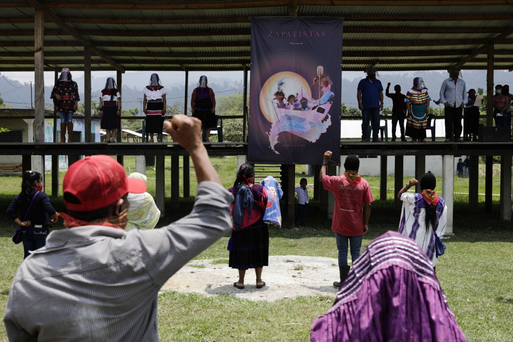 Members of the Zapatista Army of National Liberation, EZLN, bid farewell to a delegation that will leave for Europe on May 3, in the community of Patr...